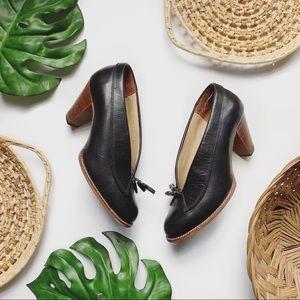 Vintage Sweet Steps Leather Tassel Heels